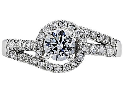 White Lab-Grown Diamond 14K White Gold Engagement Ring .90ctw