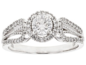 White Lab-Grown Diamond 14K White Gold Halo Ring .82ctw