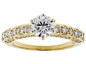 White Lab-Grown Diamond 14K Yellow Gold Engagement Ring 1.69ctw