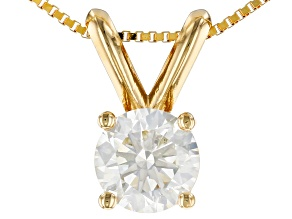 White Lab-Grown Diamond 14K Yellow Gold Pendant 0.50ctw