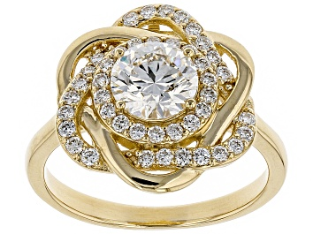 Picture of White Lab-Grown Diamond 14K Yellow Gold Engagement Ring 1.39ctw