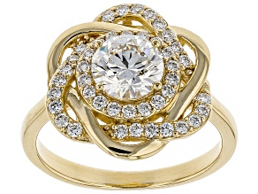 White Lab-Grown Diamond 14K Yellow Gold Ring 1.39ctw