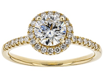 Picture of White Lab-Grown Diamond 14K Yellow Gold Halo Ring 1.29ctw