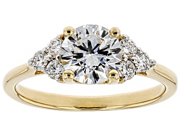 Picture of White Lab-Grown Diamond 14K Yellow Gold Engagement Ring 1.25ctw