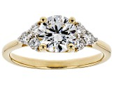 White Lab-Grown Diamond 14K Yellow Gold Engagement Ring 1.25ctw