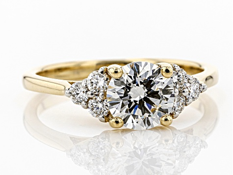 White Lab-Grown Diamond 14K Yellow Gold Ring 1.25ctw