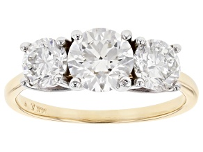 White Lab-Grown Diamond 14K Two-Tone Gold Three-Stone Engagement Ring 2.00ctw