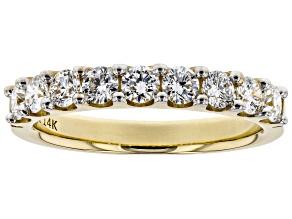 White Lab-Grown Diamond 14K Yellow Gold Ring 0.90ctw