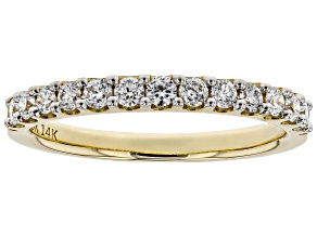 White Lab-Grown Diamond 14K Yellow Gold Ring 0.45ctw