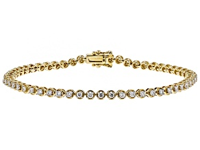 White Lab-Grown Diamond 14K Yellow Gold Bracelet 1.25ctw