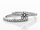 White Lab-Grown Diamond 14K White Gold Engagement Ring With Matching Band