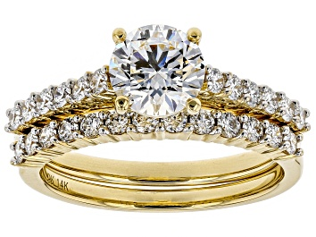 Picture of White Lab-Grown Diamond 14K Yellow Gold Engagement Ring With Matching Band