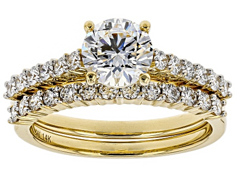 White Lab-Grown Diamond 14K Yellow Gold Engagement Ring With Matching Band