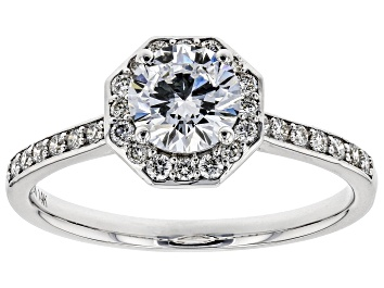 Picture of White Lab-Grown Diamond 14K White Gold Engagement Ring 1.04ctw
