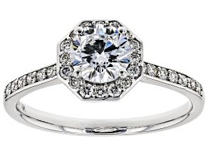 White Lab-Grown Diamond 14K White Gold Engagement Ring 1.04ctw