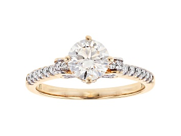 Picture of White Lab-Grown Diamond 14K Yellow Gold Engagement Ring 1.27ctw
