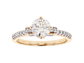 White Lab-Grown Diamond 14K Yellow Gold Engagement Ring 1.27ctw