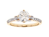 White Lab-Grown Diamond 14K Yellow Gold Ring 1.27ctw