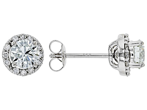 White Lab-Grown Diamond 14K White Gold Jacket Stud Earrings 1.14ctw