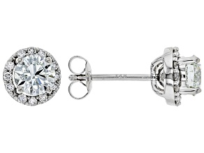 White Lab-Grown Diamond 14K White Gold Earrings 1.14ctw