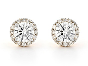 White Lab-Grown Diamond 14K Yellow Gold Jacket Stud Earrings 1.14ctw