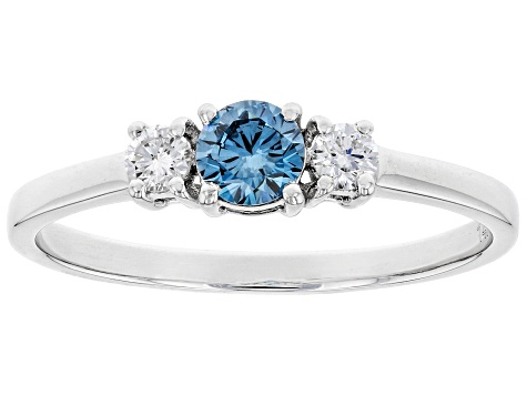 Blue And White Lab-Grown Diamond 14K White Gold Ring 0.37ctw
