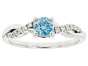 Blue And White Lab-Grown Diamond 14K White Gold Ring 0.49ctw
