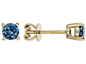 Blue Lab-Grown Diamond 14K Yellow Gold Earrings 0.52ctw