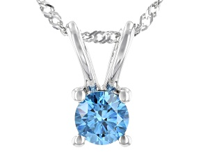 Blue Lab-Grown Diamond 14K White Gold Pendant W/ 18