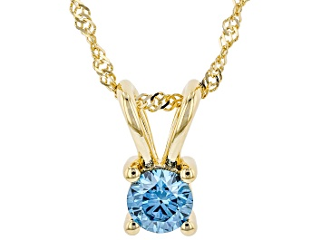 """Picture of Blue Lab-Grown Diamond 14K Yellow Gold Pendant With 18"""" Singapore Chain 0.34ct"""