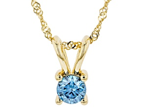 "Blue Lab-Grown Diamond 14K Yellow Gold Pendant With 18"" Singapore Chain 0.34ct"