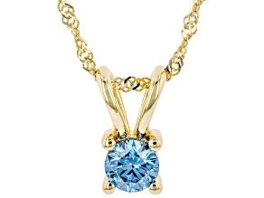 "Blue Lab-Grown Diamond 14K Yellow Gold Pendant With 18"" Singapore Chain 0.34ct"