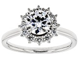 White Lab-Grown Diamond 14K White Gold Halo Engagement Ring 1.42ctw