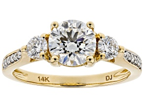 White Lab-Grown Diamond 14K Yellow Gold Engagement Ring 1.62ctw
