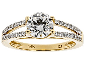 White Lab-Grown Diamond 14K Yellow Gold Engagement Ring 1.46ctw