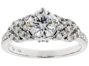 White Lab-Grown Diamond 14K White Gold Engagement Ring 1.46ctw