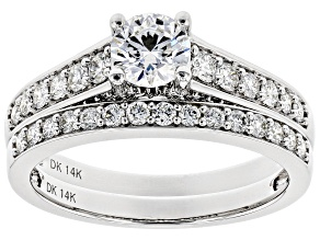 White Lab-Grown Diamond 14K White Gold Engagement Ring With Matching Band 1.25ctw