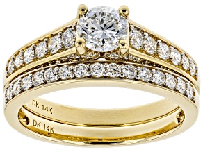 White Lab-Grown Diamond 14K Yellow Gold Engagement Ring With Matching Band 1.25ctw