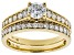 White Lab-Grown Diamond 14K Yellow Gold Ring With Matching Band 1.25ctw