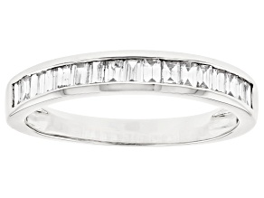White Lab-Grown Diamond 14k White Gold Band Ring 0.70ctw