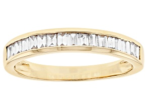 White Lab-Grown Diamond 14k Yellow Gold Band Ring 0.70ctw