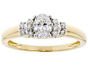 White Lab-Grown Diamond 14k Yellow Gold Center Design Ring 0.55ctw
