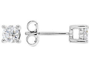 White Lab-Grown Diamond 14k White Gold Stud Earrings 0.75ctw