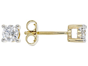 White Lab-Grown Diamond 14k Yellow Gold Stud Earrings 0.75ctw