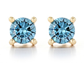Blue Lab-Grown Diamond 14k Yellow Gold Stud Earrings 0.50ctw