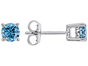 Blue Lab-Grown Diamond 14k White Gold Stud Earrings 0.75ctw