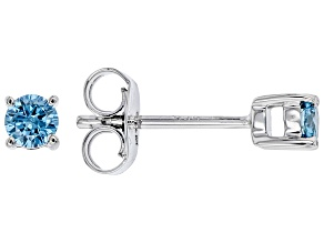 Blue Lab-Grown Diamond 14k White Gold Stud Earrings 0.25ctw
