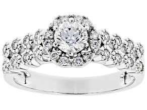 White Lab-Grown Diamond 14k White Gold Engagement Ring 0.75ctw