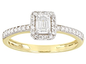 White Lab-Grown Diamond 14k Yellow Gold Halo Engagement Ring 0.59ctw