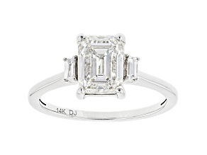 White Lab-Grown Diamond 14k White Gold 3-Stone Engagement Ring 2.10ctw